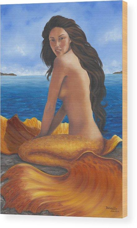 Tropical Mermaid Wood Print featuring the painting Tale Of Paradise by Brenda Ellis Sauro