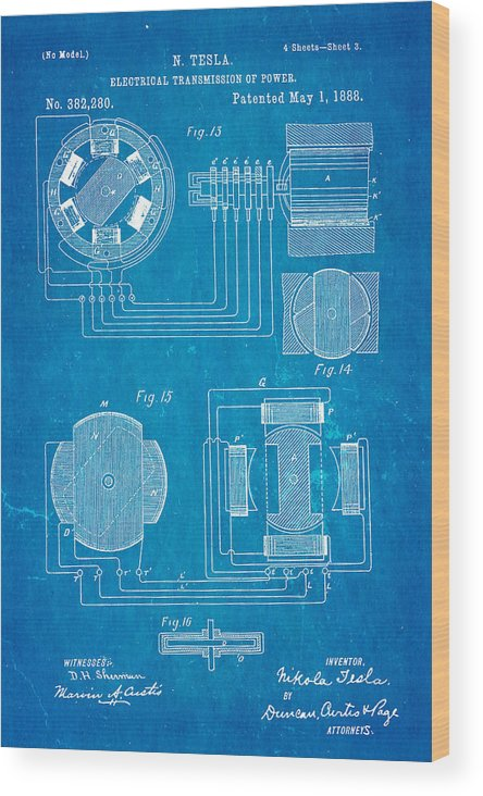 Tesla electrical transmission of power patent art 3 1888 blueprint electricity wood print featuring the photograph tesla electrical transmission of power patent art 3 1888 blueprint malvernweather Gallery