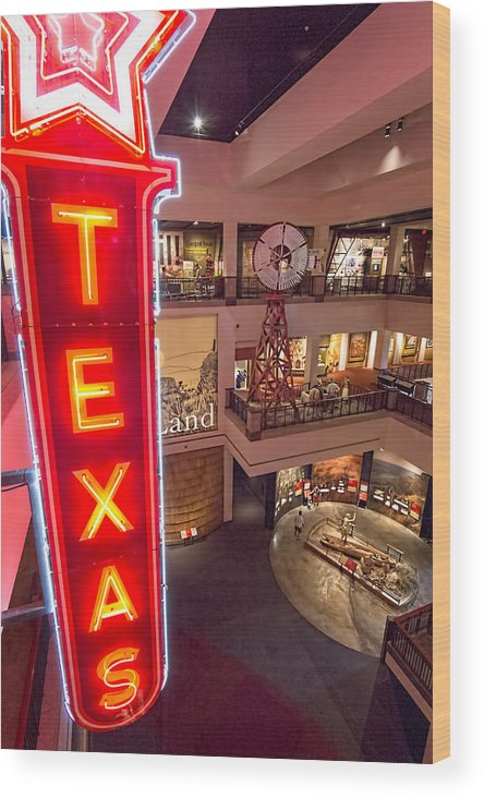 Austin Wood Print featuring the photograph Texas In Lights by Tim Stanley