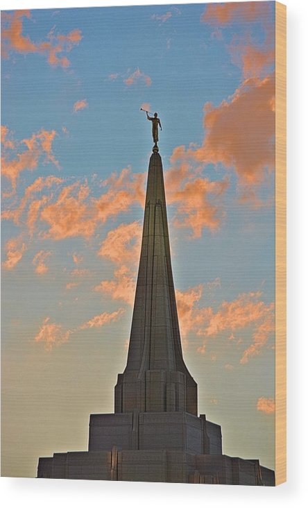 Mormon Wood Print featuring the photograph The Angel Maroni At Sunset by Richard Jenkins