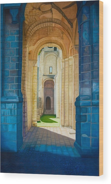 Architecture Wood Print featuring the painting The Arches Of The Abbey At Jumieges by Stephen Degan