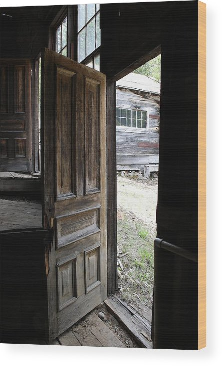 Door Wood Print featuring the photograph The Doorway        Colored Pencil by Mark Eisenbeil