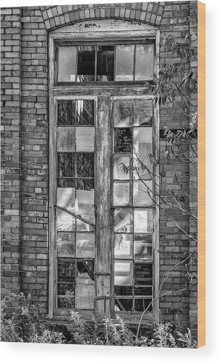 Autumn Wood Print featuring the photograph The Factory Window Bw by Steve Harrington