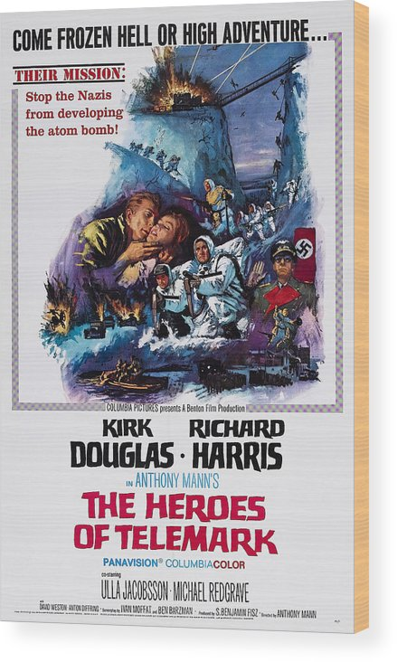 1960s Movies Wood Print featuring the photograph The Heroes Of Telemark, Us Poster Art by Everett
