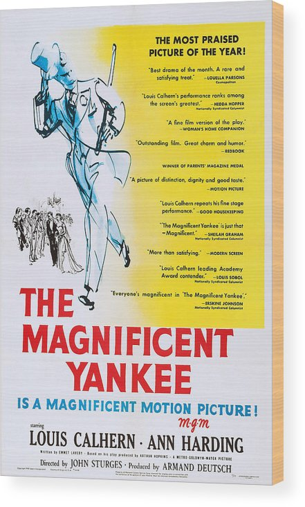 1950 Movies Wood Print featuring the photograph The Magnificent Yankee, Us Poster Art by Everett