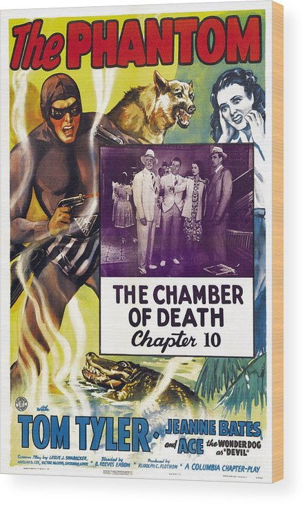 1940s Movies Wood Print featuring the photograph The Phantom, Us Poster, Tom Tyler Left by Everett