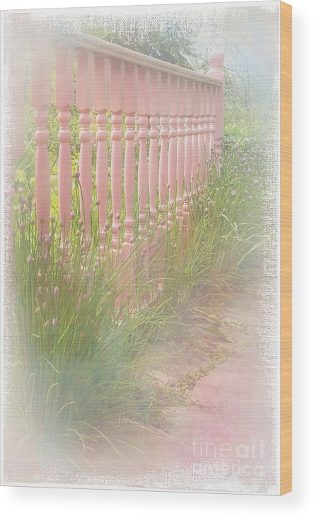 Garden Wood Print featuring the photograph The Pink Fence by Marilyn Cornwell