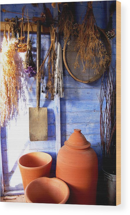 Rhubarb Forcer Dried Seed Heads Plant Pots Terracotta Lavender Drying Herbs Spade Sieve Garden Shed Earthenware Light In Darkness Interior Contentment Gardener's Joy Shabby Chic Royal Horticultural Society Harlow Carr Rhs Wood Print featuring the painting The Potting Shed by Deborah Meyler