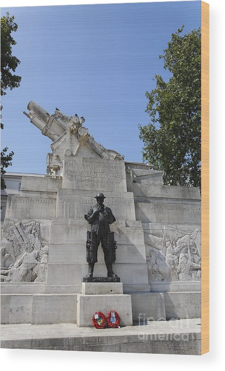 Royal Artillery War Memorial Wood Print featuring the photograph The Royal Artillery War Memorial By Charles Sargeant Jagger And Lionel Pearson In London England by Robert Preston
