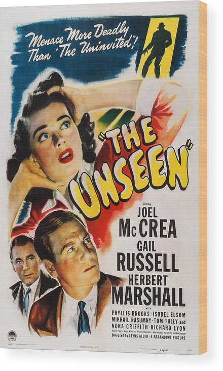 1940s Movies Wood Print featuring the photograph The Unseen, Us Poster Art, Top Gail by Everett