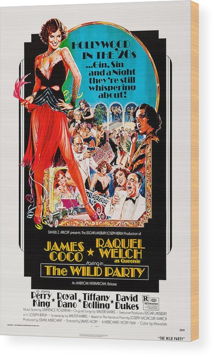1920s Wood Print featuring the photograph The Wild Party, Us Poster Art, Raquel by Everett