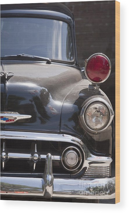 Antique; Car; Windows; Driving; Auto; Automobile; Automotive; Classic; Drive; Old; Front; Fender; Transportation; Vehicle; Vintage; Headlight; Chrome; Hood; Chevy; Chevrolet; Police; Red; Lights Wood Print featuring the photograph To The Right by Margie Hurwich