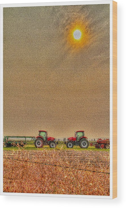Wood Print featuring the photograph Tractors At Noon by Dan Quam
