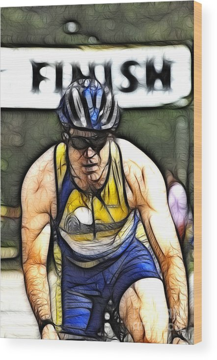 Sports Wood Print featuring the photograph Triathalon Competitor by Bob Christopher