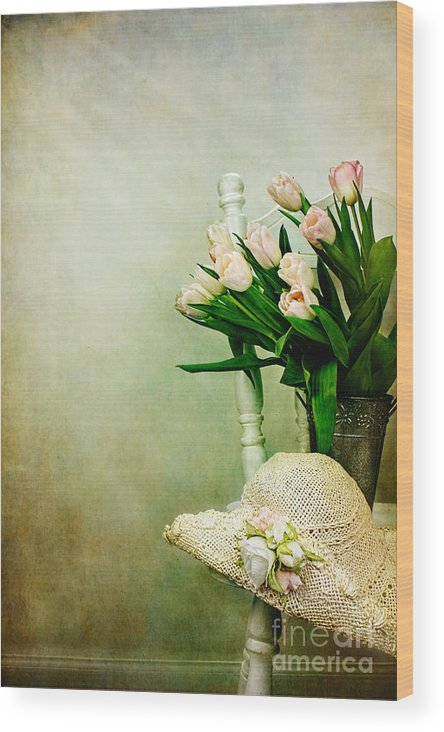 Vertical Wood Print featuring the photograph Tulips On A Chair by Stephanie Frey
