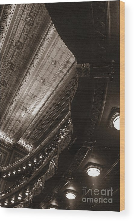 Details; Theater; Indoors; Inside; Interior; Ceiling; Looking Up; Balcony; Ornate; Sepia; Lights; Under; Underneath; Theater; Spot Light Wood Print featuring the photograph Under The Balcony by Margie Hurwich