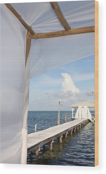 Caye Caulker Wood Print featuring the photograph Under The Bamboo Lanai Caye Caulker Belize by Lee Vanderwalker