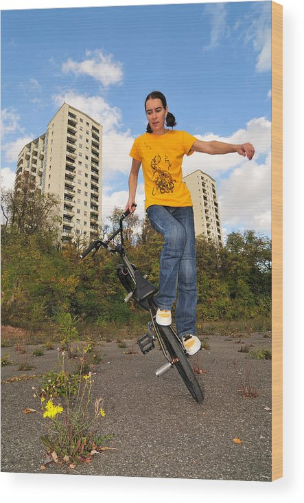 Bmx Flatland Wood Print featuring the photograph Urban Bmx Flatland With Monika Hinz by Matthias Hauser
