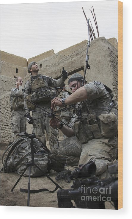 Operation Enduring Freedom Wood Print featuring the photograph U.s. Army Soldiers Set Up A Tactical by Stocktrek Images