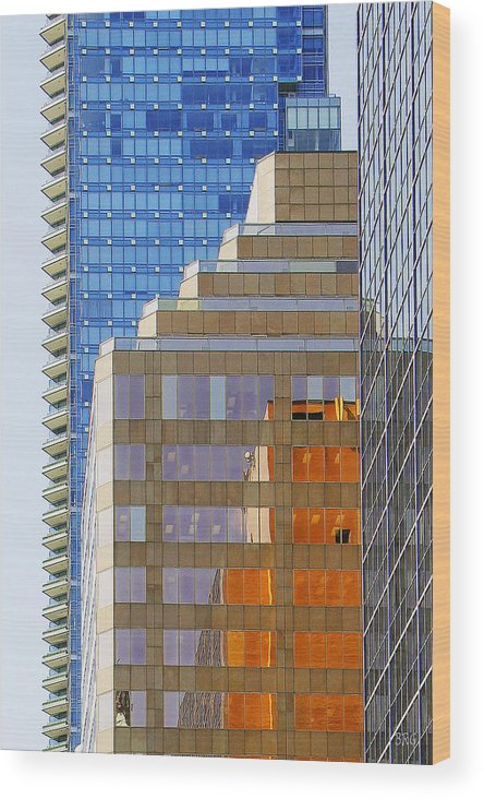 Architecture Wood Print featuring the photograph Vancouver Reflections No 1 by Ben and Raisa Gertsberg