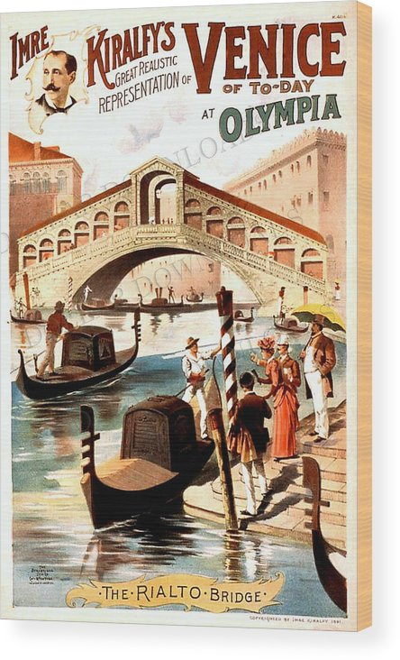 Venice Print Wood Print featuring the digital art Venice Vintage Poster by Cool Canvas