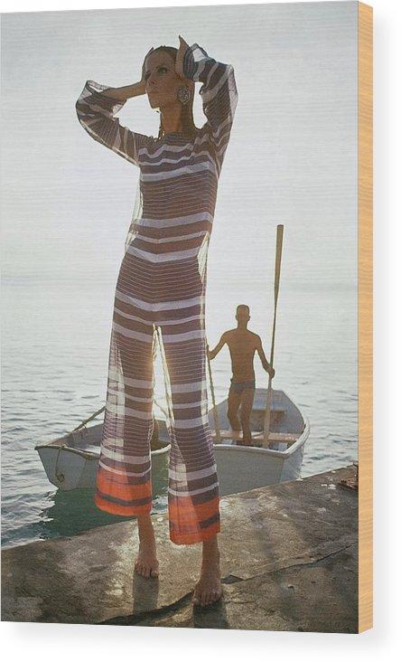 Fashion Wood Print featuring the photograph Veruschka Von Lehndorff Wearing Jumpsuit by Louis Faurer