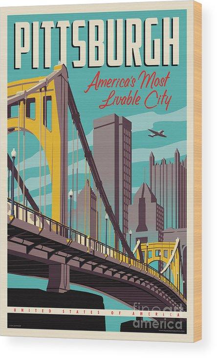 Pittsburgh Wood Print featuring the digital art Pittsburgh Poster - Vintage Travel Bridges by Jim Zahniser