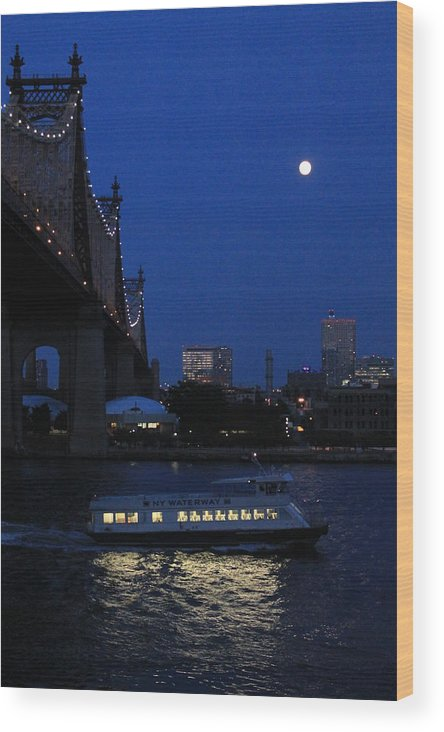 Queensboro Bridge Wood Print featuring the photograph Water Taxi by Catie Canetti