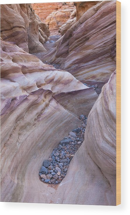 Nevada Wood Print featuring the photograph White Domes Slot Canyon - Vertical by Patrick Downey