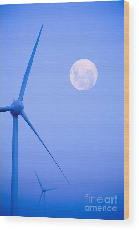 Wind Wood Print featuring the photograph Wind Farm And Full Moon by Colin and Linda McKie