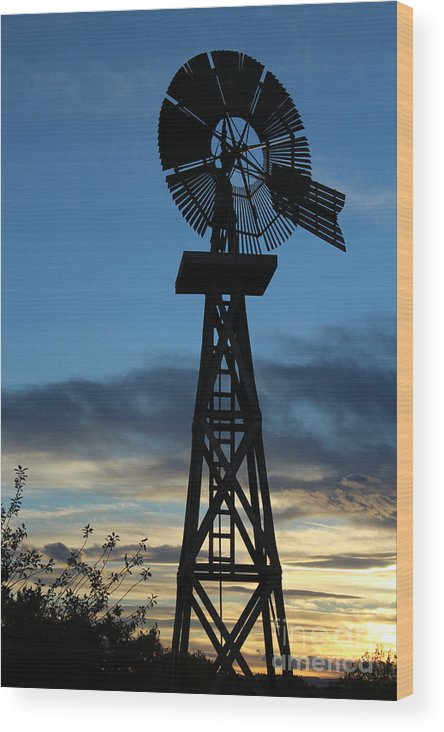 Windmill Wood Print featuring the photograph Windmill At Sunset by Steven Parker