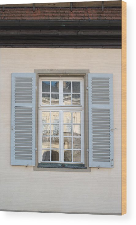 Window Wood Print featuring the photograph Window Opposite Palace Of The Solitude In Stuttgart - Germany by Frank Gaertner