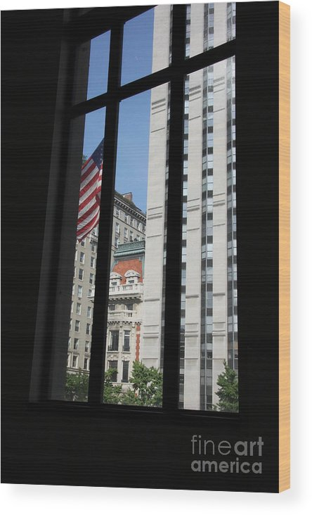 Window Wood Print featuring the photograph Window View With Flag by Christiane Schulze Art And Photography