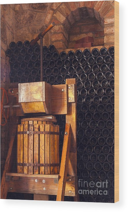 Castello Di Amorosa Winery Napa Winery California Wine Bottle Bottle Presses Wineries Cask Casks Barrel Barrels Press Wood Print featuring the photograph Wine Press by Bob Phillips
