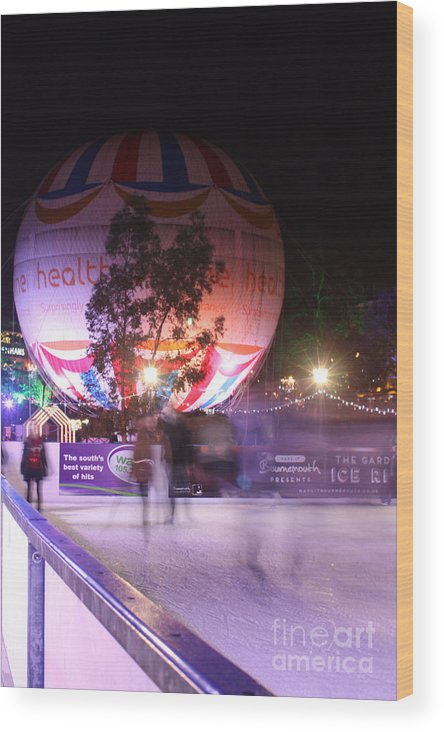 Ice Rink Wood Print featuring the photograph Winter Gardens Ice Rink And Balloon Bournemouth by Terri Waters