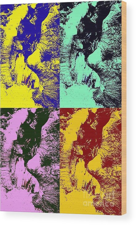 Landscape Wood Print featuring the pyrography Wise Old Pop Art by Heather Watson