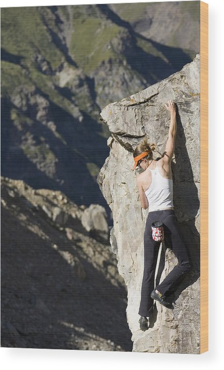 Adventure Wood Print featuring the photograph Woman Rock Climbing, India by Gabe Rogel