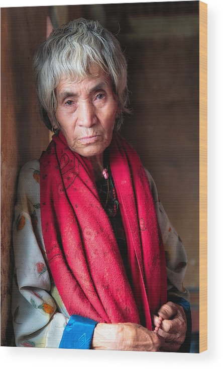 Bhutan Wood Print featuring the photograph Woman With A Red Scarf by Stephanie Brand