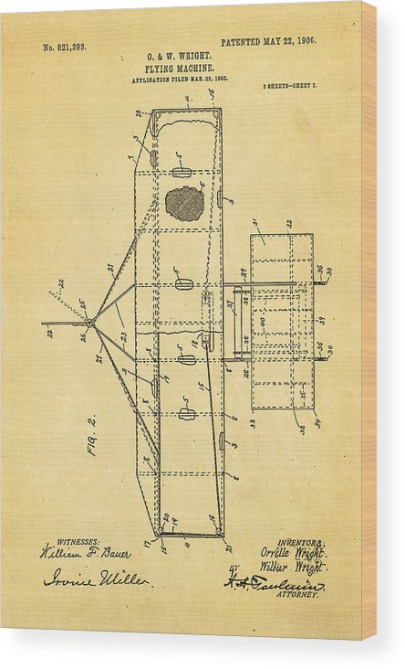Aviation Wood Print featuring the photograph Wright Brothers Flying Machine Patent Art 2 1906 by Ian Monk