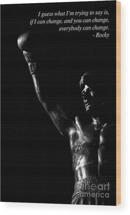 Blckandwhite Wood Print featuring the photograph Yo Adrian 2 by Nicholas Pappagallo Jr