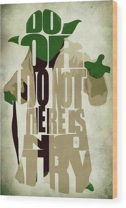 Yoda Wood Print featuring the digital art Yoda - Star Wars by Inspirowl Design