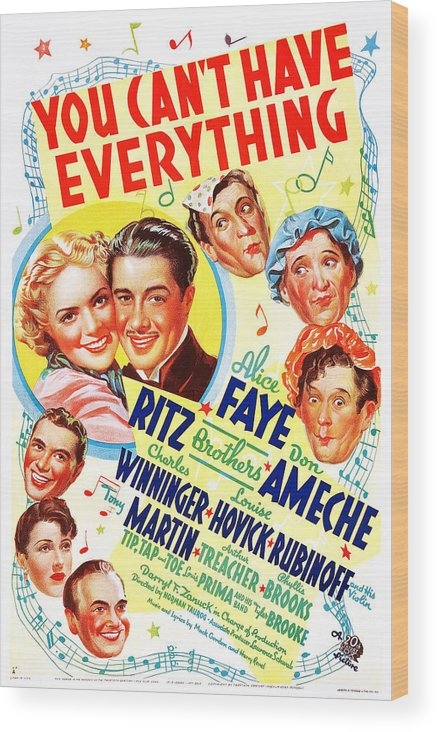1930s Movies Wood Print featuring the photograph You Cant Have Everything, Us Poster by Everett