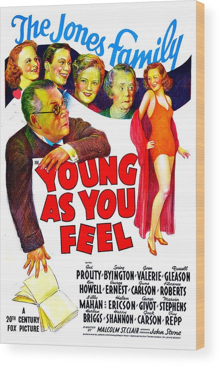 1940 Movies Wood Print featuring the photograph Young As You Feel, Us Poster, Jed by Everett