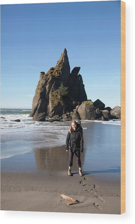 Adventure Wood Print featuring the photograph Young Woman Backpacking Near Third by Justin Bailie
