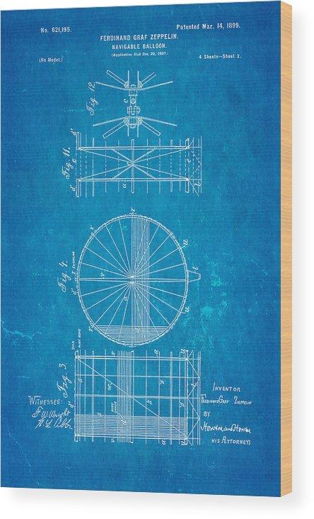 Aviation Wood Print featuring the photograph Zeppelin Navigable Balloon Patent Art 2 1899 Blueprint by Ian Monk