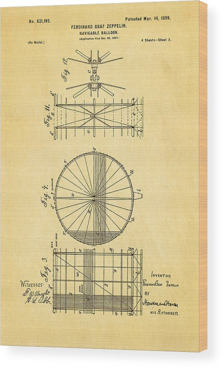 Aviation Wood Print featuring the photograph Zeppelin Navigable Balloon Patent Art 2 1899 by Ian Monk