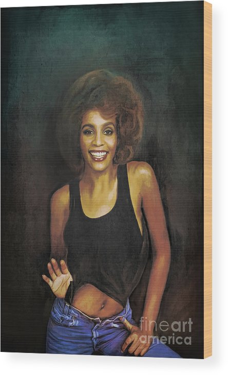 Whitney Wood Print featuring the painting Whitney Elizabeth Houston by Andrzej Szczerski