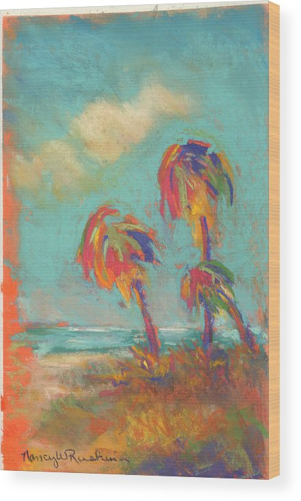 Palm Trees Wood Print featuring the pastel Folly Beach Family Fun by Nancy w Rushing