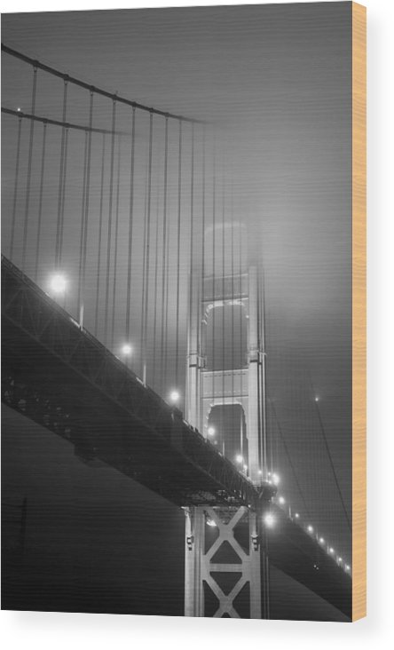 golden Gate Bridge Wood Print featuring the photograph Golden Gate Bridge At Night by Mike Irwin