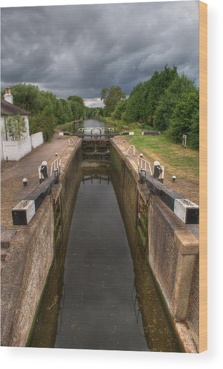 Grand Union Canal Wood Print featuring the photograph Wide Water Lock by Chris Day